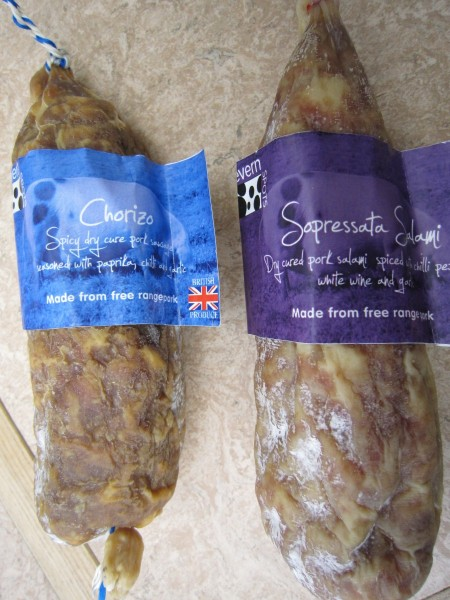 Severn Spot salami is locally produced. We stock their sopressata, a classic dry cure Italian sausage, and chorizo (choor-itho) which can be eaten cold, or cooked into stews, paellas or omelettes.